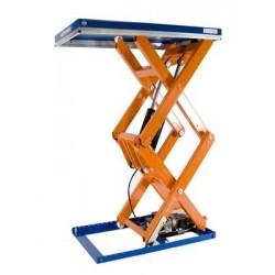 <p>Table élévatrice fixe double ciseaux / Capacité 1500 Kg / Elévation maxi : 2600 mm / Plateau de 1700*1000 mm</p>