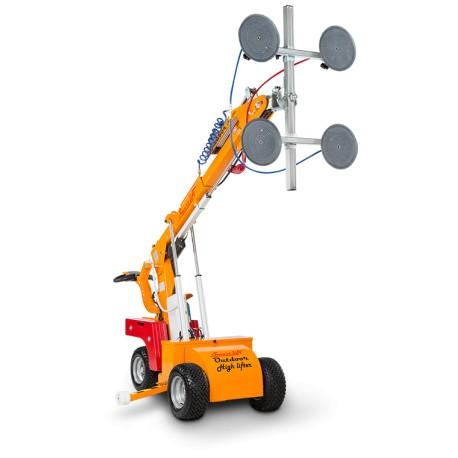 capacité maxi 420 Kg. Elévation maxi 2800 mm à l'axe / Robot de pose pour vitrage Haute Levée /