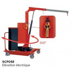 Grue mobile rotative porte à faux 500 Kg - Elévation éléctrique