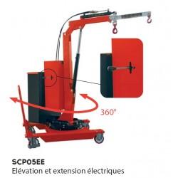 Grue mobile rotative - Elévation et extension électriques - Porte à faux 500 Kg