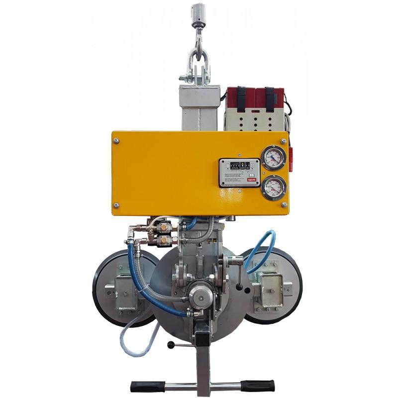 Capacité 200 Kg / 2 ventouses Ø 310 mm / Conçu pour la manutention de vitrage sur chantier / Conforme EN 13155 Dimensions des ventouses : 860x310 mm avec bras de 670 mm ou 1690x310 avec bras de 1500 mm GL-VB2 RCMBM: Rotation 360° et basculement 0-90° manuels (Double vanne coulissante avec bouton de sécurité)