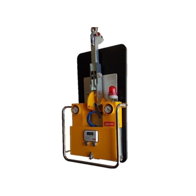 Capacité 375 Kg /mono ventouse de 1000*500 mm / Conçu pour la manutention de vitrage sur chantier ou panneaux sandwich (à onde fine) / Conforme EN 13155 CL-WRCMBM: Rotation 360° et basculement 0-90° manuels (Double vanne coulissante avec bouton de sécurité) Radio commande de série