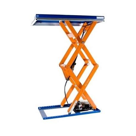 <p>Table élévatrice fixe double ciseaux / Capacité 1000 Kg / Elévation maxi : 1920 mm / Plateau de 1000*1300 mm</p>