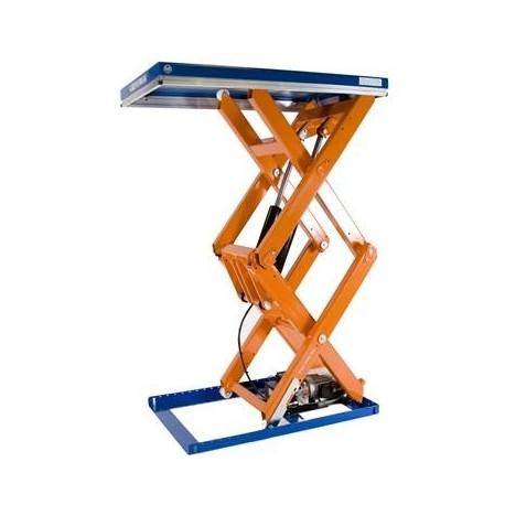 <p>Table élévatrice fixe double ciseaux / Capacité 2000 Kg / Elévation maxi : 1960 mm / Plateau de 1000*1300 mm</p>
