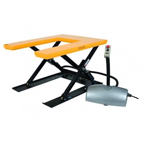 """<p>Capacité de la <a href=""""http://palvac.com/6-table-elevatrice"""">table élévatrice</a> : 1000 Kg</p> <p>/ Plateau de 1450*1140 mm</p> <p>/ Hauteur maxi : 760 mm</p> <p>Moteur de 0.75 Kw</p>"""