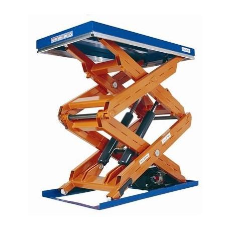 <p>Table élévatrice fixe double ciseaux / Capacité 3000 Kg / Elévation maxi : 2700 mm / Plateau de 1700*900 mm</p>
