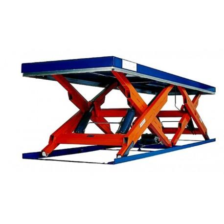 <p>Table élévatrice fixe double ciseaux horizontaux / Capacité 6000 Kg / Elévation maxi : 1350 mm / Plateau de 3400*900 mm</p>
