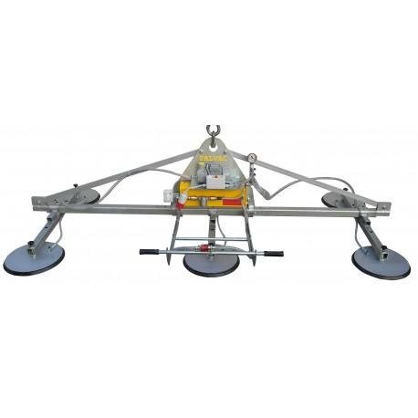 <p>Capacité 1800 Kg /</p> <p>Palonnier à ventouses spécialement conçu pour la manutention de tôle 1000*2000 mm, 1500*3000 mm et 2000*4000 mm</p> <p>Alimentation pneumatique (Modèle F6 A ) ou électrique (Modèle F6 EB)</p>