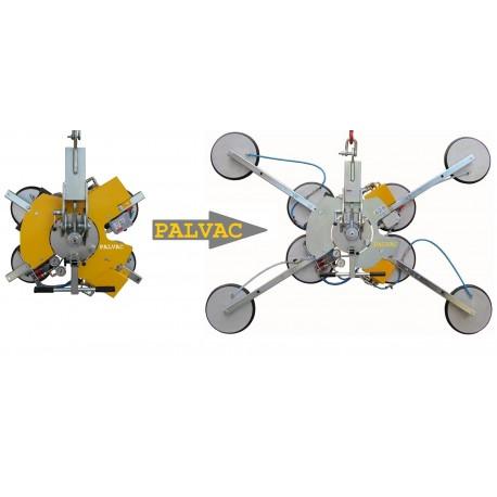 Capacité 800 Kg maxi / 4 + 4 ventouses Ø 300 mm / Conçu pour la manutention de vitrage sur chantier / Conforme EN 13155