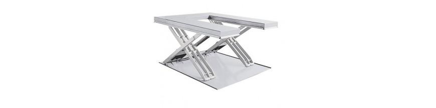 Table élévatrice inox en U