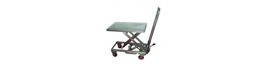 Table élévatrice mobile manuelle Inox et Aluminium
